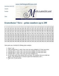 Eratosthenes' Sieve ~ Prime Numbers Up To 200 Worksheet