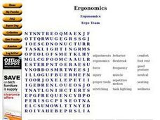 Ergonomics Wordsearch Worksheet