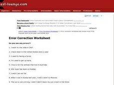 Error Correction Worksheet-- ESL Worksheet