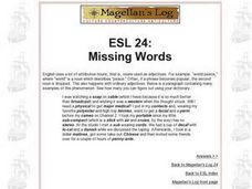 ESL 24: Missing Words Worksheet