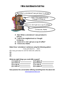 ESL Activity: I Was Just About to Call You Worksheet