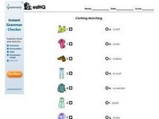 ESL Clothing Words Matching Worksheet Worksheet