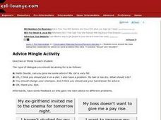 ESL Conversation: Advice Mingle Activity Worksheet