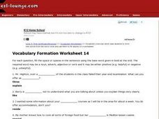 ESL First Certificate/Advanced Vocabulary Formation Worksheet 14 Worksheet