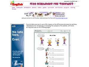 ESL Grammar: He or She Worksheet