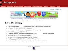 ESL Intermediate Vocabulary- Facial Expressions, Movements and Gestures Worksheet