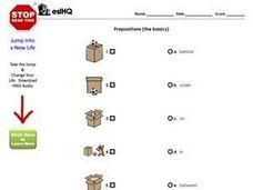 ESL Matching- Prepositions- The Basics Worksheet