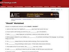 "ESL Pre-Intermediate Grammar Worksheet- ""Should"" Worksheet"