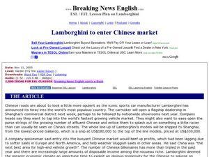 esl reading comprehension lamborghini to enter chinese market 5th 8th grade worksheet. Black Bedroom Furniture Sets. Home Design Ideas
