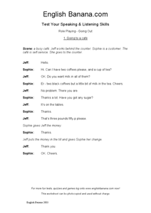 ESL Role Playing: Going To A Cafe Worksheet