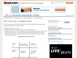 ESL Tic-Tac-Toe - Conditional Forms Lesson Plan