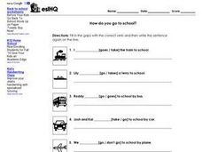 ESL Verbs- How Do You Go To School? Fill in the Blank Worksheet Worksheet