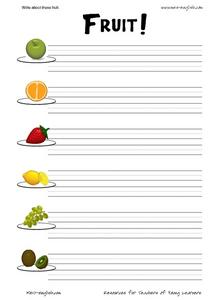 ESL Vocabulary and Writing: Fruit Worksheet