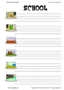 ESL Vocabulary and Writing: School Worksheet