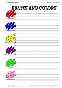 ESL Vocabulary & Writing: Shapes and Colors Worksheet