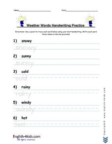 esl weather word handwriting practice 2nd 3rd grade worksheet lesson planet. Black Bedroom Furniture Sets. Home Design Ideas