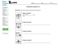 "ESL ""Where Is The Ball?"" Prepositions of Place #6 Worksheet"