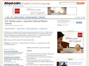 ESL Writing Lesson - Using Non-Defining Relative Clauses Lesson Plan