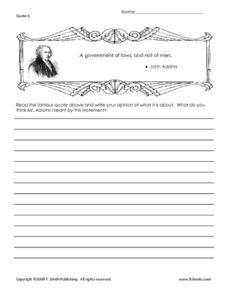 Essay About a Quote by John Adams Worksheet