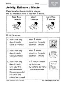 Estimate a Minute Activity Worksheet