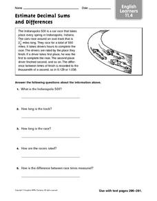Estimate Decimal Sums and Differences - ESL Worksheet