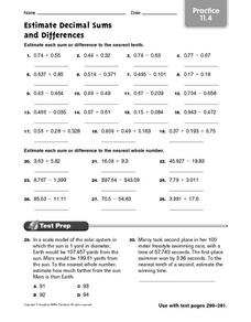 Estimate Decimal Sums and Differences Worksheet