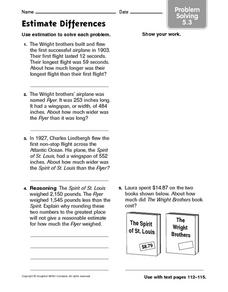 Estimate Differences: Problem Solving 5.3 Worksheet