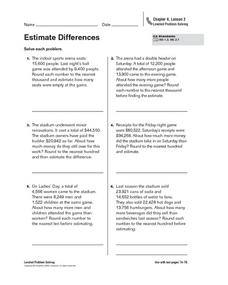 Estimate Differences Worksheet