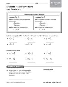 Estimate Fraction Products and Quotients: Homework Worksheet