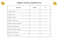 Estimate, Measure, and Record Worksheet
