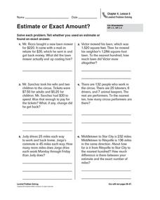 Estimate or Exact Amount? Worksheet