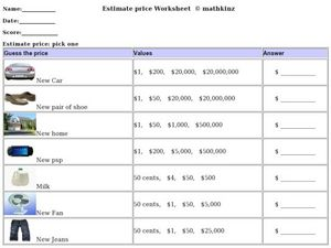 Estimate Price Worksheet Worksheet