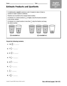 Estimate Products and Quotients: English Learners Worksheet