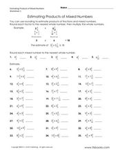 Worksheets Estimating Products Worksheets estimate products of mixed numbers 4th 6th grade worksheet worksheet