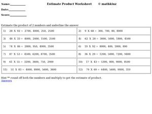 Estimate Products Worksheet