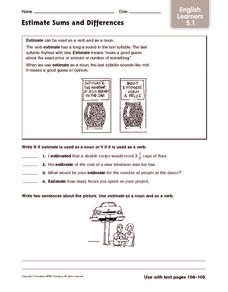 Estimate Sums and Differences: English Learners Worksheet