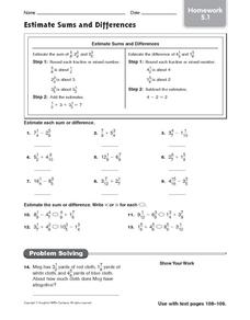 Estimate Sums and Differences: Homework Worksheet