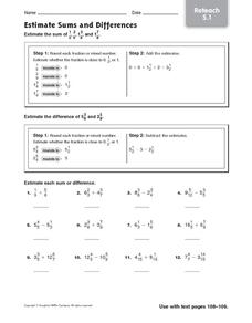 Estimate Sums and Differences: Reteach Worksheet