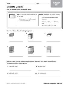 Estimate Volume: Reteach Worksheet