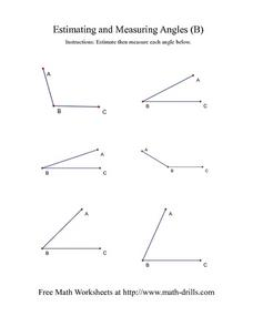 Estimating and Measuring Angles (B) Worksheet