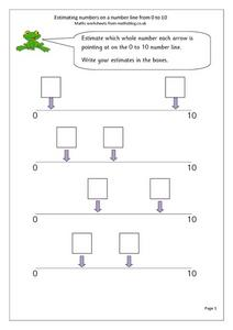 Estimating Numbers on a Number Line From 0 to 10 Worksheet