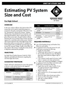 Estimating PV System Size and Cost Lesson Plan