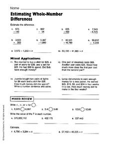 Estimating Whole Number Differences Worksheet