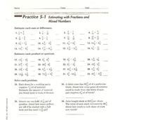 Estimating with Fractions and Mixed Numbers Worksheet