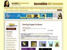 Etching Copper or Brass Bracelets, Pins and Earrings Lesson Plan