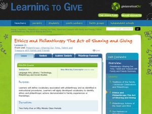 Ethics and Philanthropy The Act of Sharing and Giving Lesson Plan