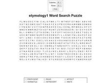 Etymology1 Word Search Puzzle Worksheet