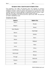 European Union: Countries And Its Capital Cities Worksheet