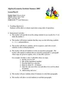 Evalating Expressions Lesson Plan
