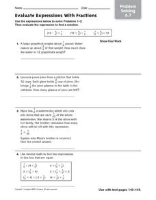 Evaluate Expressions With Fractions Worksheet